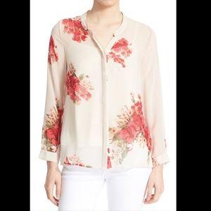 Joie silk top watercolor floral Devitri cream pink